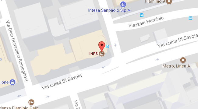 mappa sede Inps Roma